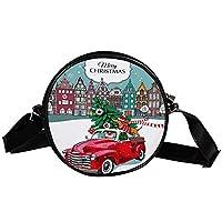 クロスボディバッグ、メッセンジャーバッグサッチェルショルダーバッグクロスボディスリングバックパックスリングバッグトラベルハイキングクリスマス犬ダックスフント赤いトラック