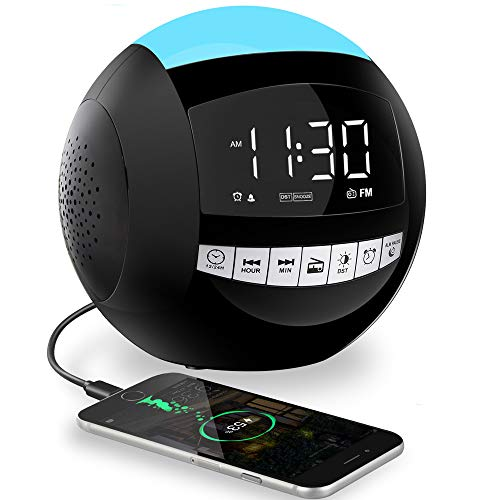 Digital Clock,USB Alarm Clock Radio for Bedroom,Dual USB Ports,7 Colors Night Light,Snooze,LED Display Clock,Dimmer,AC Plug in/Battery Operated FM Clock Radio for Heavy Sleeper Kids Nightstand