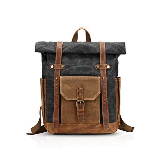 FANDARE Mode Schultasche Herren 15.6 inch Laptop Rucksack Grosse Kapazität Reiserucksack Outdoor Trekkingrucksacke Segeltuch Schwarz