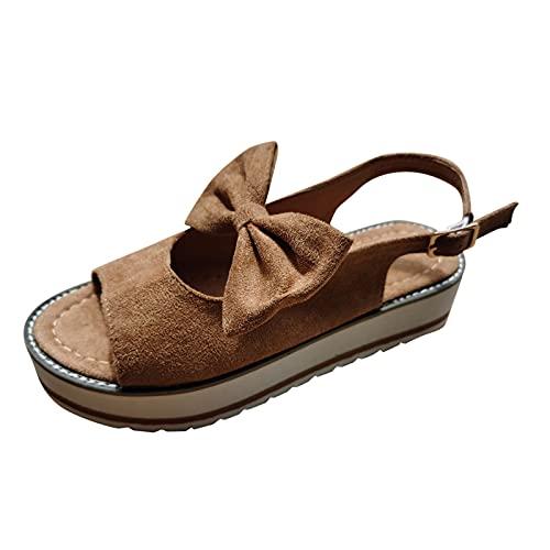YANFANG Plataforma De Moda para Mujer Zapatos Casuales Individuales Bowknot Sandalias con Hebilla CuñA,Primavera Retro Cabeza Redonda CuñAs Casual Verano Alpargatas Cerrada Mocasines,40,Marrón