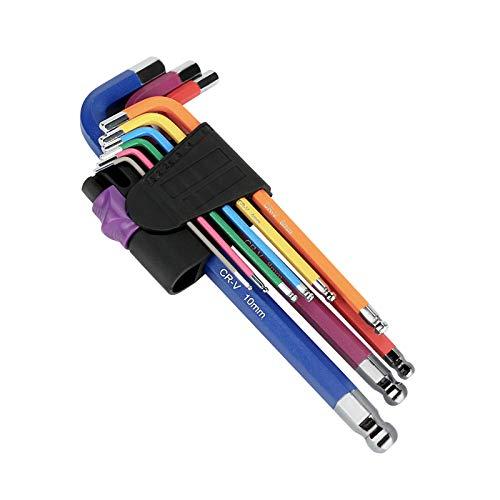 LINGSFIRE - Set di 9 chiavi esagonali a testa sferica multicolore, con testa esagonale professionale, con codice colore (1,5 mm - 10 mm) per biciclette e artigianato, piccole e compatte con supporto
