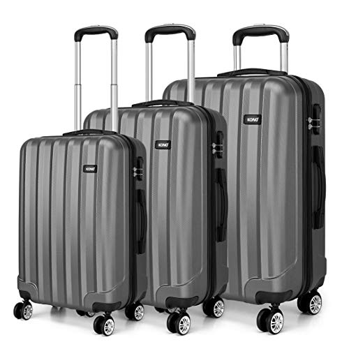 Kono Fashion Travel Luggage Set of 3 Piece Hard Shell Light Weight ABS Suitcase with 4 Spinner Wheels (Grey)