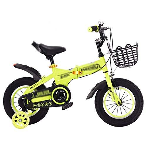 SZNWJ Ygqtbc Bicicletas for niños, Bicicletas de niño for niños y niñas, 12 de 14 Pulgadas con Ruedas de Entrenamiento, Bicicletas de montaña Plegable for Bicicleta Urbana Campo a través