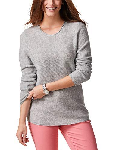Walbusch Damen Cashmere Leicht-Pullover einfarbig Grau Melange 40