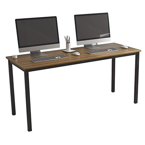 DlandHome Escritorios Mesa de Conferencia 160x60cm Mesa de Comedor Mesa de Ordenador Escritorio de Oficina Mesa de Estudio, Nuez & Neg