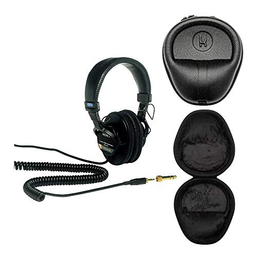 Sony MDR7506 Professional Large Diaphragm Headphone with Knox Gear Hard Shell Headphone Case Bundle (2 Items)