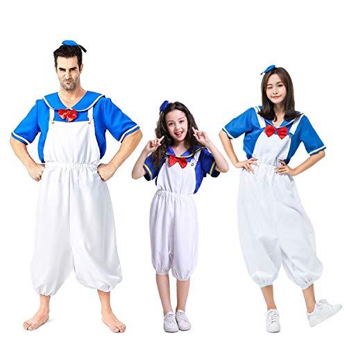 Amatop Sailor Cosplay Kostüm , Donald Duck Halloween Kostüm Eltern-Kind-Kostüme Familie Halloween Kostüm Navy Kostüme Familie Set Outfit für Männer, Frauen und Kinder Kostüm