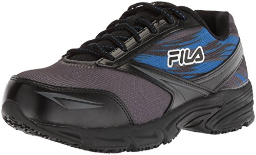 Fila Men's Memory Meiera 2 Slip Resistant Composite Toe Trail Running Shoe Food Service, Castlerock/Black/Prince Blue, 9.5 D US