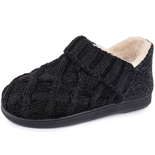 Women's Warm Wool Yarn Cable Knitted Bootie Slippers Memory Foam Anti-Skid Sole House Shoes Indoor Outdoor(Large / 9-10 B(M) US, Black)