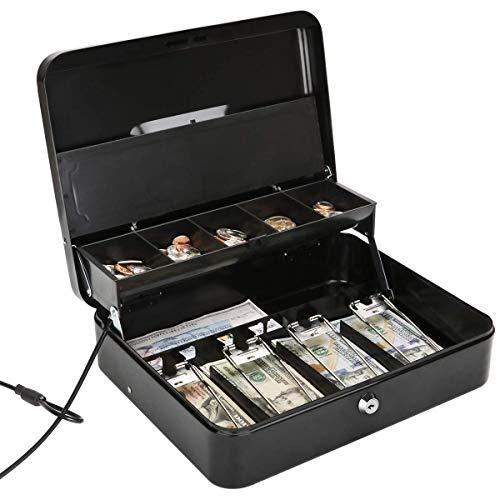 Jssmst Large Locking Cash Box with Money Tray, Lock Box with Security Cable Metal Money Box with Key Lock, Black, CB02304XL