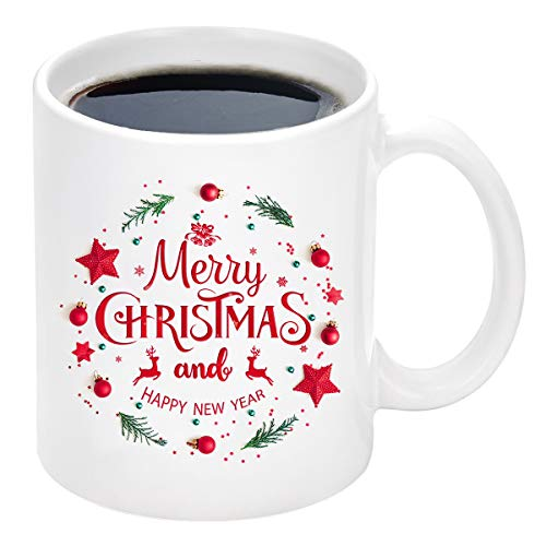 Christmas Coffee Mug with Merry Christmas and Happy New Year Reindeer White Ceramic Coffee Mug Cup for Christmas Holiday Gifts 11 Ounce