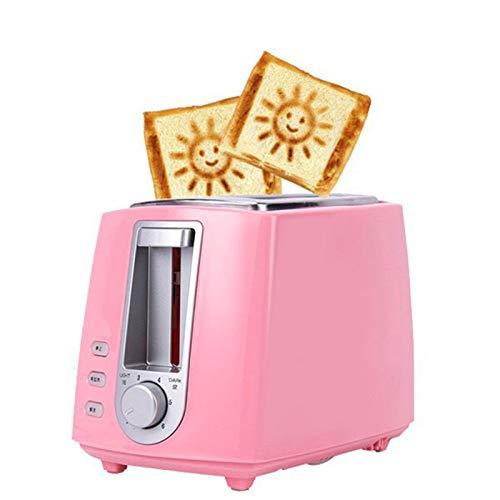 QTDS Tostadora, Tostadora, Máquina De Desayuno Pequeña para El Hogar, Tostadora Automática, 2 Rebanadas De Pan Tostado, Dormitorio Multifunción, Prueba De Bajo Consumo De Energía(Color:Rosado)