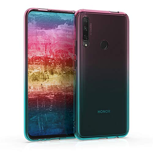 kwmobile Funda Protectora Compatible con Honor 9X (EU-Version) - Carcasa Bicolor Rosa Fucsia/Azul/Transparente