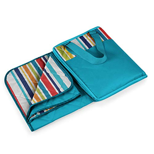 Picnic Time Vista Outdoor Picnic Blanket Tote, Aqua with Fun Stripes, 16 x 11 x 3
