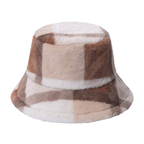 Nuevos Sombreros de Cubo con patrn de Letra arcoris Multicolor para Exteriores, Gorros clidos Suaves de Invierno para Mujer-Camel Plaid