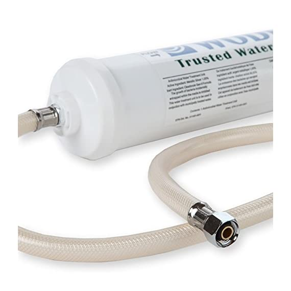 """Woder WD-10K-DC Under Sink Water Filtration System - WQA Certified – USA Made Ultra High Capacity Direct Connect Water… 1 WQA GOLD SEAL CERTIFIED - to NSF/ANSI 42 for Chlorine, taste, odor and NSF/ANSI 372 for lead free compliance as verified and substantiated by test data. . Eliminate Lead (99.9%), Heavy metals, Chlorine (99.9%), Chromium 6, Volatile Organic Compounds and other contaminants (99.9%), odors and bad tastes, Mercury and turbidity. The Woder 10K gives great smelling and tasting water, cold and fresh from the tap. MADE IN THE USA - NO PLUMBING REQUIRED – Comes with 'Direct Connect' hoses that fit standard 3/8"""" water valves under US kitchen and bathroom sinks. The 3/8"""" Direct Connect Hose are made to install directly to the existing cold water valve and faucet stem under your sink. This filter should be used in conjunction with municipally treated drinking water or water that has been properly disinfected prior use."""