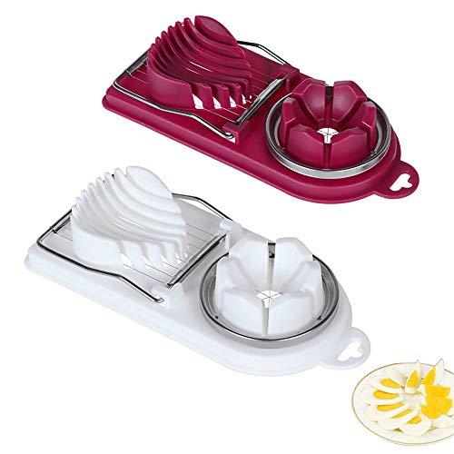 Lepidi 2 Stücke Edelstahl Draht Eierschneider, Eierteiler, Multifunktional, Schnell Effektiv 2 in 1 PP Eierschneider mit Edelstahldrähten zum Schneiden von Gekochtem Ei, Erdbeeren, Kiwis (Weiß, Rot)