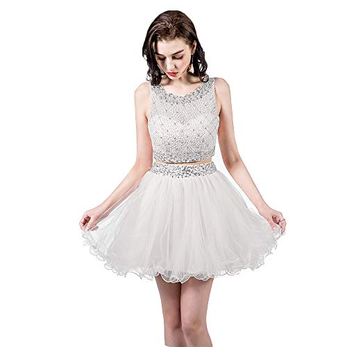 TANGFUTI Two Piece Homecoming Dresses Short Beaded Tulle Formal Prom Gowns 010 White US6