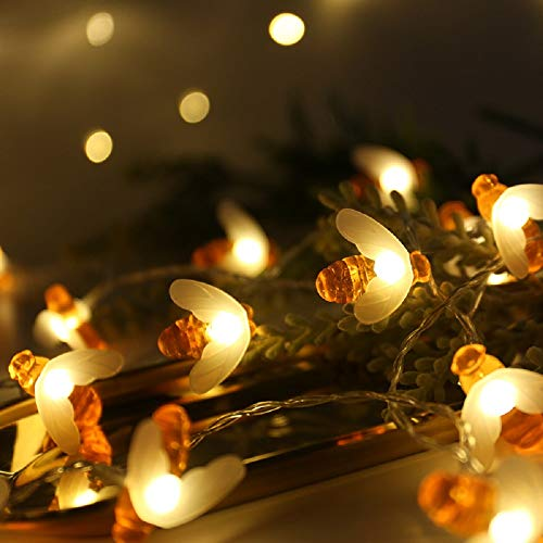 Honeybee Fairy String Lights, Merdeco Plug in String Lights 10ft 20 LED Warm White Lights for Party/Birthday/Wedding/Christmas Indoor Outdoor Decoration