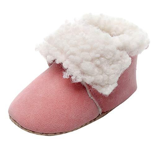 Chaussures Bébé Hiver Chaud Bottes de Neige Bebe Bottines en Peluche de Coton Chaussons Souple Semelle Garçon Fille Chaussures Premier Pas 0-2 Ans Tyoby(Rose,15)