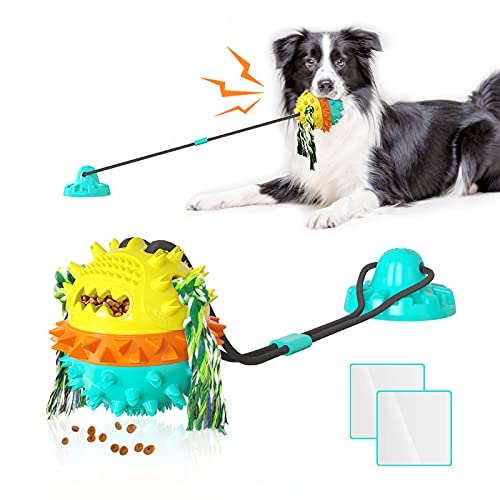 Dog Toys for Aggressive Chewers Suction Cup Tug of War Interactive Puzzle Dogs Toy Indestructible Chew Squeaky Rope Toys for Small Medium Large Dogs with Teeth Cleaning and Food Dispensing Features