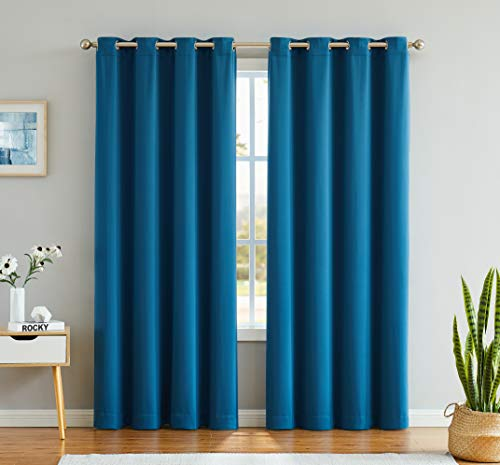Blackout Curtains Navy Blue Drapes 63 Inches Long for Bedroom Navy Black Out Window Panels for Living Room/Patio/Gazebo Thermal Insulated Grommet Curtain 52