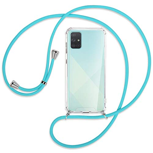 mtb more energy Collana Smartphone per Samsung Galaxy A71 (SM-A715, 6.7'') - Turchese - Custodia indossabile per Collo - Cover con Cordoncino Tracolla