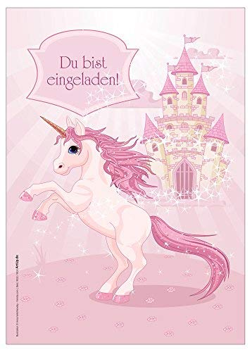 12 Einladungskarten Mädchen-Geburtstag Einhorn Unicorn Märchenschloss rosa hellrosa pink zauberhaft illustriert / Geburtstagseinladungen Einladungen Kinder Mädchen Einladungstext Vorlagen Karten Set