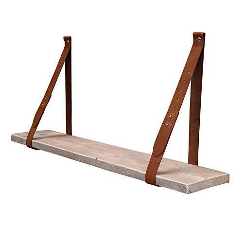 Steigerhoutpassie - Leren plankdrager - Cognac - Set - Verstelbaar - Steigerhout - 100cm