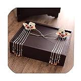 Horquilla china antigua para novia, tocado con flores y palitos para el pelo para niña con forma de corazón, Han Element, accesorios para el pelo antiguos, Color, Tamaño