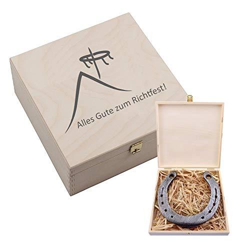 4youDesign Hufeisen-Box mit Motiv Alles Gute zum Richtfest (Hausdach und Richtkranz) - Geschenkidee zum Hausbau - Glücksgeschenk zum Richtfest (ohne Gravur)