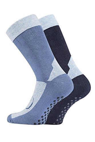TippTexx24 2 Paar Homesocks, ABS-Socken, Stopper-Socken, Anti-Rutsch-Socken (39-42, jeans/marine)