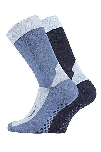 TippTexx24 Paar Homesocks, ABS-Socken, Stopper-Socken, Anti-Rutsch-Socken (35-38, jeans/marine)