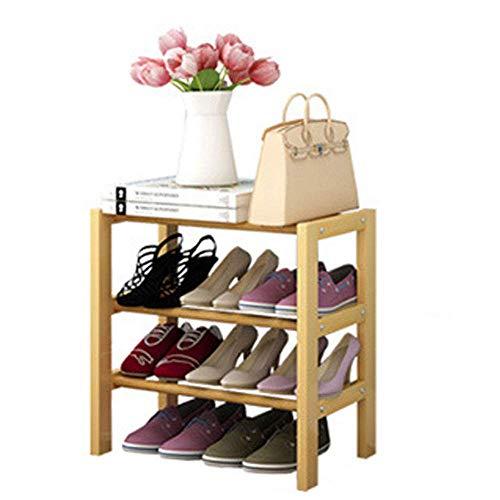 DXMRWJ Zapatero apilable de Madera Maciza Estante para Flores Estante para Flores de Madera Multicapa Estante para Zapatos Multifuncional Simple y económico para el hogar, Amarillo-65cm-Tres nivele