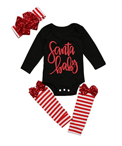 MA&BABY 3pcs Baby Girl Sequin Cute Long Sleeve Romper Leg Warmers Hairband Outfits Christmas Costume (0-6 Months, Black)