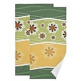 Mnsruu Juego de 2 toallas de mano con flores y líneas para baño, invitados, cocina, hotel, spa