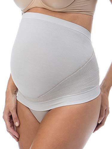RelaxMaternity 5400 (Blanco/Silver, XL) Banda Faja premamá con Hilo de Plata para Soporte Abdominal Durante el Embarazo