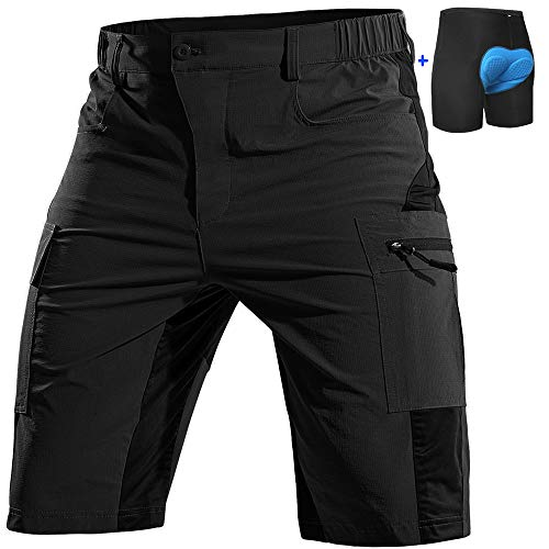 Cycorld Mountain-Bike-Shorts-Mens-Padded MTB Biking Baggy Cycling Short Removable Padding Liner with Zip Pockets(Black, X-Large)