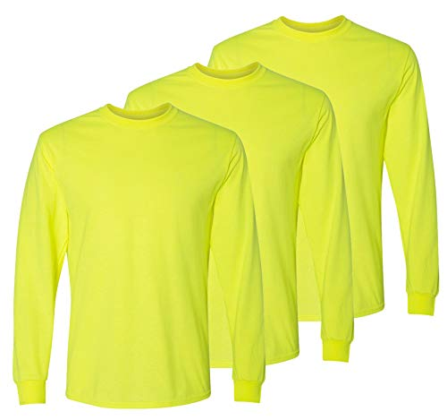 Safety High Visibility Long Sleeve Construction Work Shirts Pack for Men (Safety Yellow (3pk), X-Large)