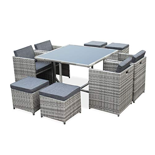 Salon de Jardin 4-8 Places - Vasto - Coloris Nuances de Gris, Coussins Gris chiné, Table encastrable, Cube.