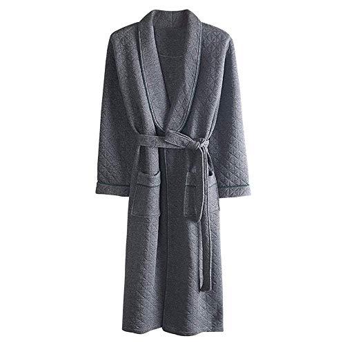 LIZANAN Y Otoño Invierno Albornoz Hombres Transpirable Suave de los Hombres Ropa de Dormir Batas Calentar Kimono Albornoces con cinturón Ropa de Dormir de Felpa Homewear, M Bata de baño