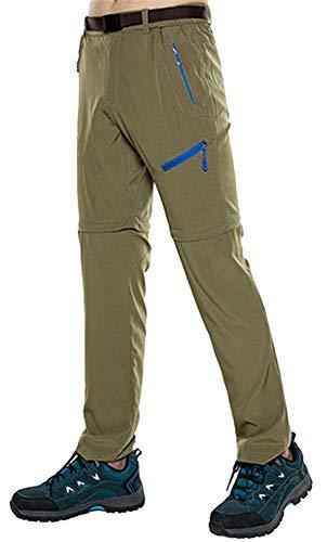 Insun Homme Pantalon de Randonnée Séchage Rapide Pantalon de Montagne Escalade Marche Respirant 2 en 1 Kaki 48