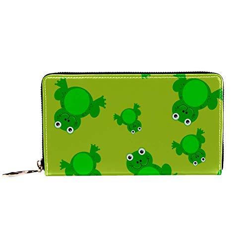 XCNGG Damen Reißverschluss um Brieftasche und Telefonkupplung, Reisetasche Leder Clutch Bag Kartenhalter Organizer Wristlets Brieftaschen, Frosch