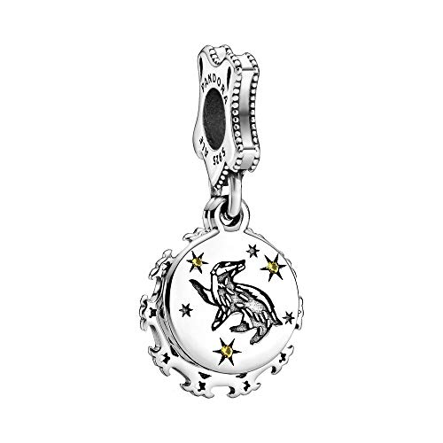 Harry Potter, Hufflepuff sterling silver dangle with yellow crystal