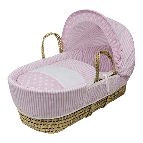 Kinder Valley Pink Spots & Stripes Moses Basket Dressings only with Padded Liner (Basket not Included)