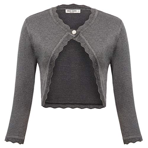 GRACE KARIN Women's 3/4 Sleeve Open Front Scalloped Fashion Knit Cropped Bolero Shrug, Gray, 3XL