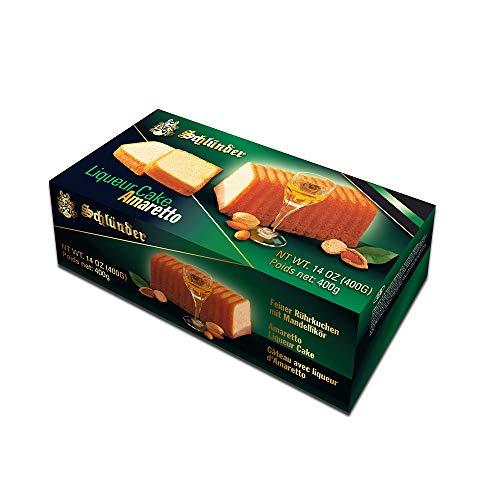 Schlünder Amaretto Liqueur Cake - feiner Rührkuchen mit Mandellikör, Fertigkuchen mit Alkohol, lecker & saftig, Bäcker-Kuchen aus Deutschland, einzeln verpackt, perfekt zum Kaffee & Tee, 400g