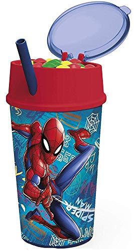 Spiderman Verre + Couvercle + Paille 400 ML Multicolore 22 x 8