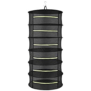 JMLior Herb Drying Rack Hanging Collapsible 2 ft 6 Layer Drying Basket Net for Plant Hydroponics Flowers Vegetables Black Mesh with Green Zippers