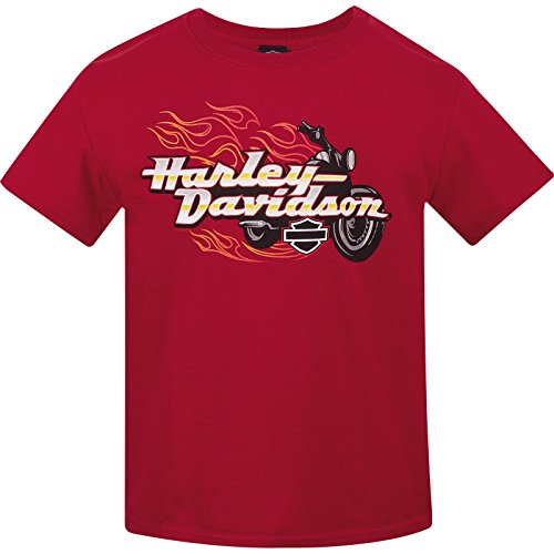 Harley-Davidson Military Youth Crew Neck T-Shirt - USAG Wiesbaden | Bike Blaze Large (14-16) Red